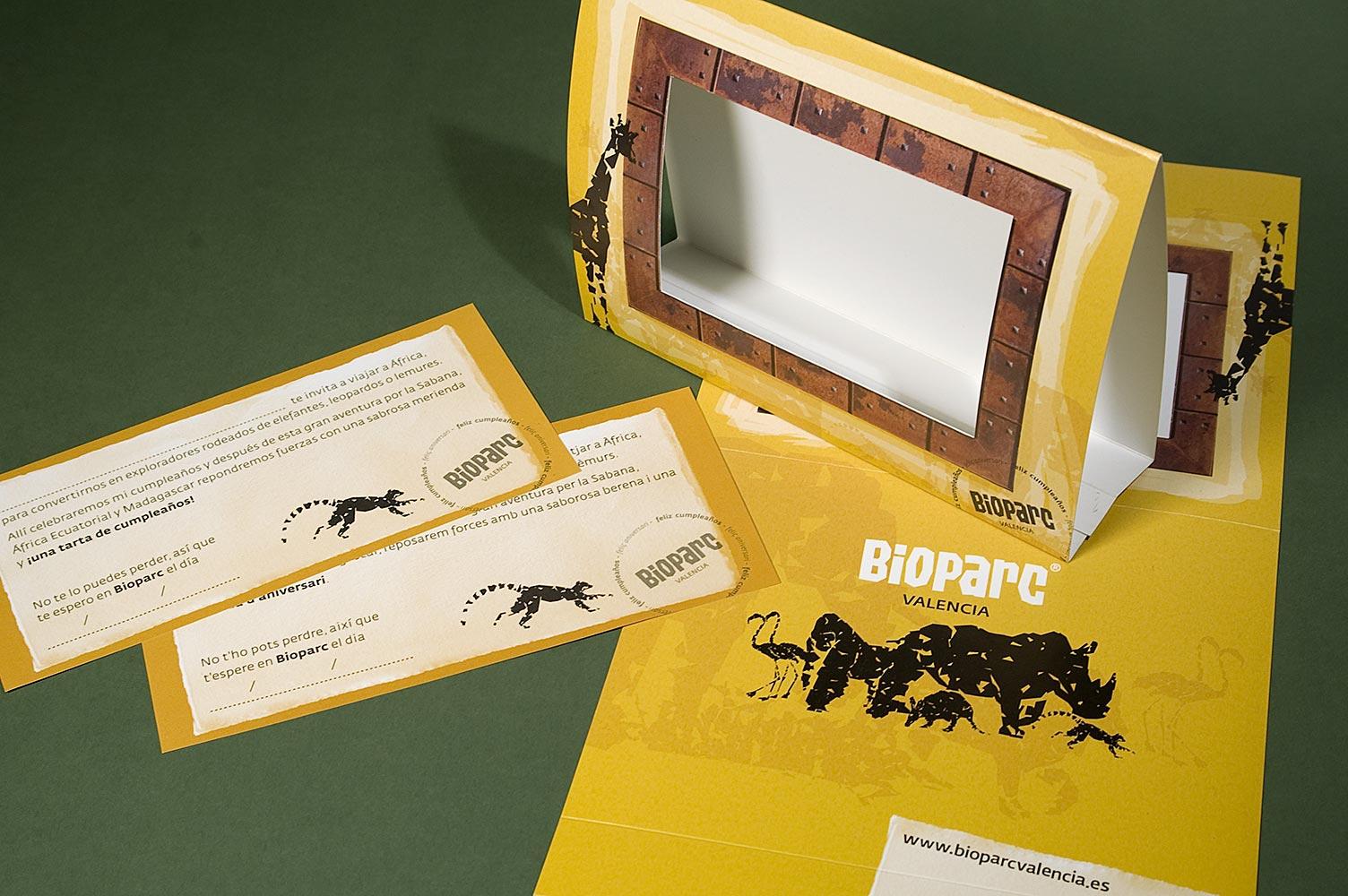 Diseño de invitaciones y portafotos para cumpleaños en Bioparc