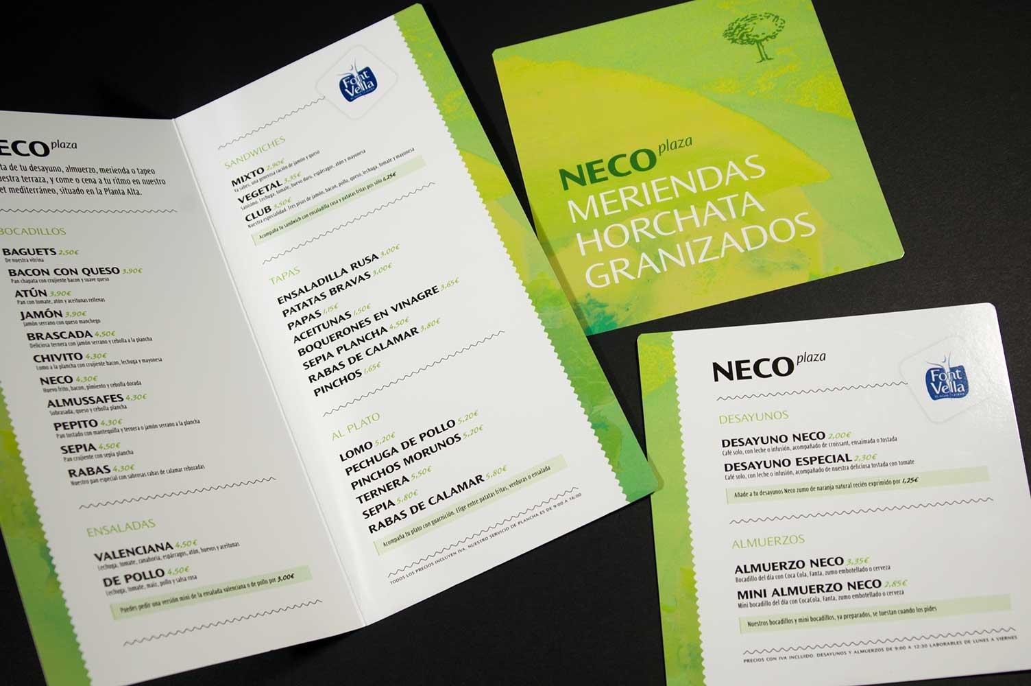 Diseño cartas menú Cafetería Neco Plaza