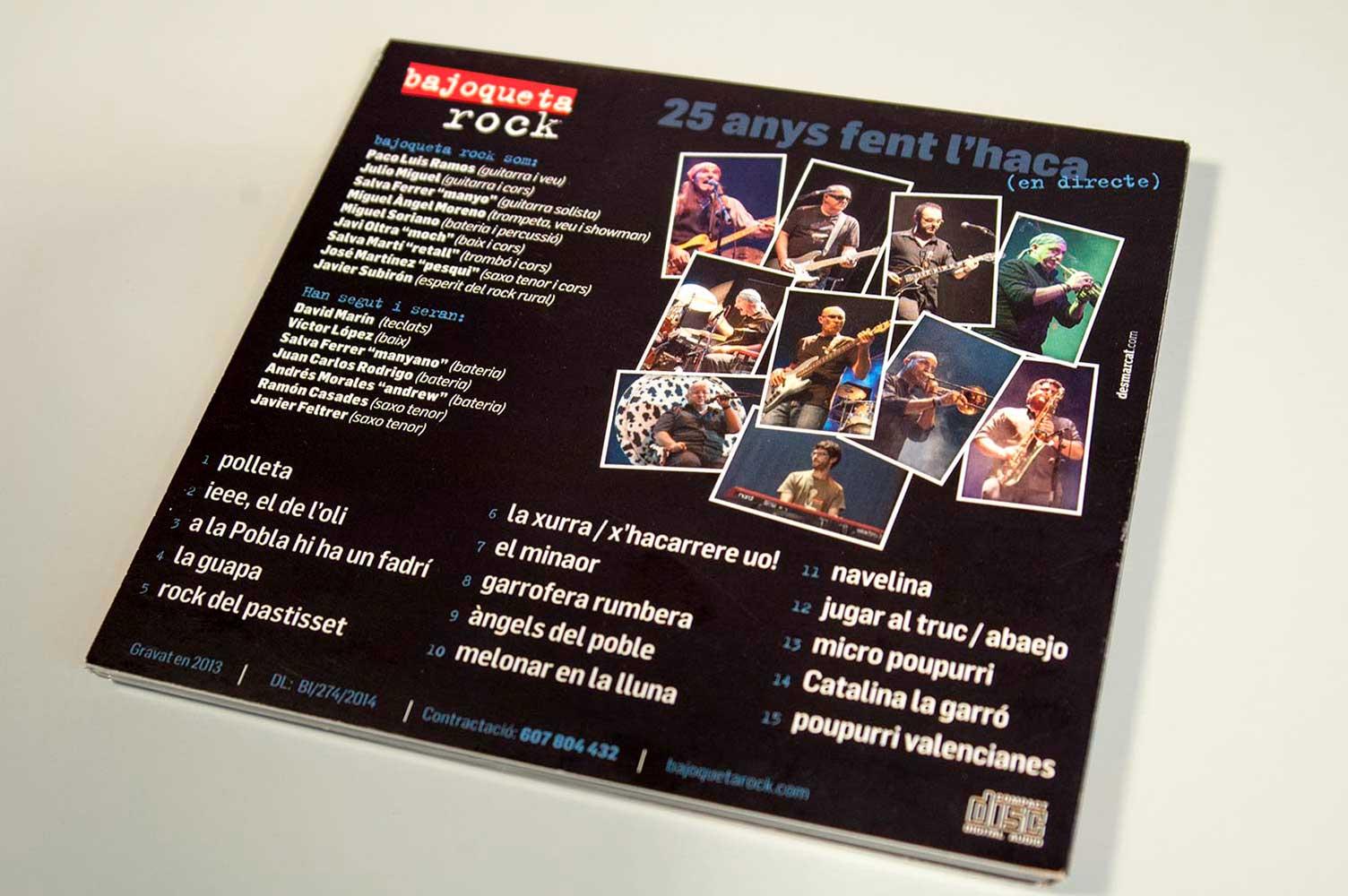 Diseño CD Bajoqueta rock 25 aniversari trasera