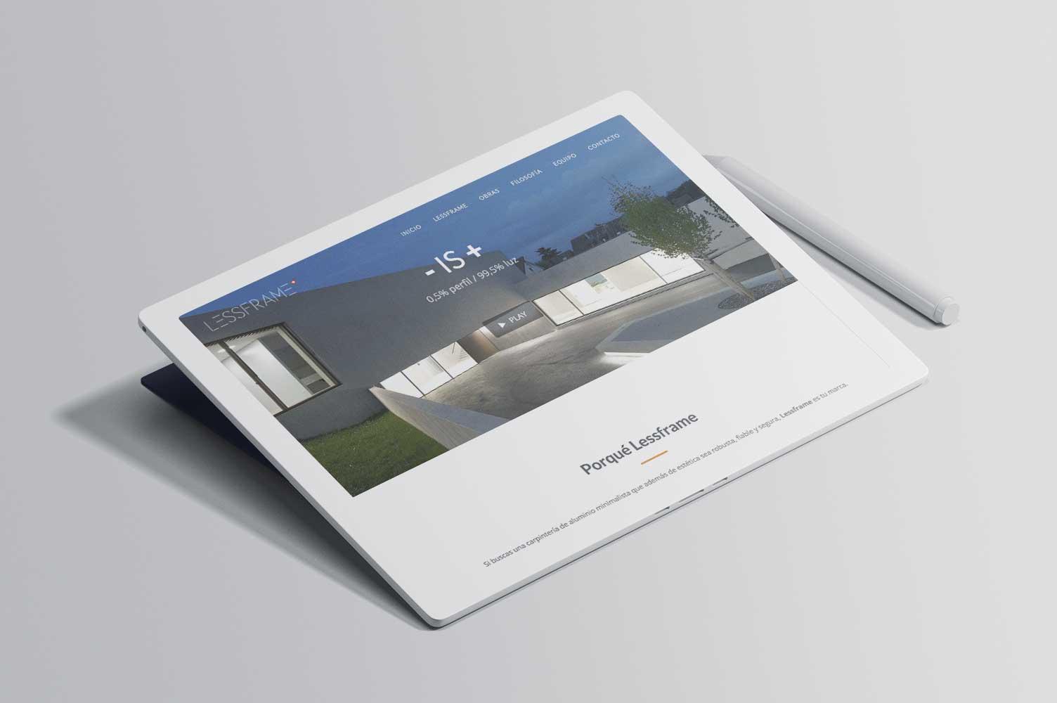 Landing page Lessframe diseño web responsive
