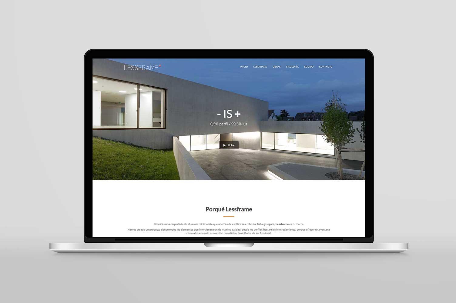 Diseño web escritorio landing page Lessframe