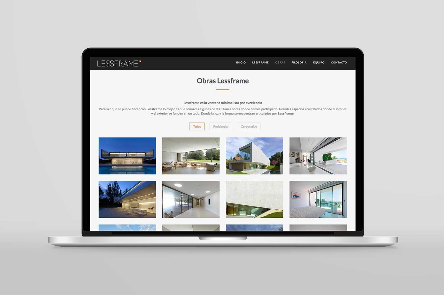Diseño web laptop landing page Lessframe