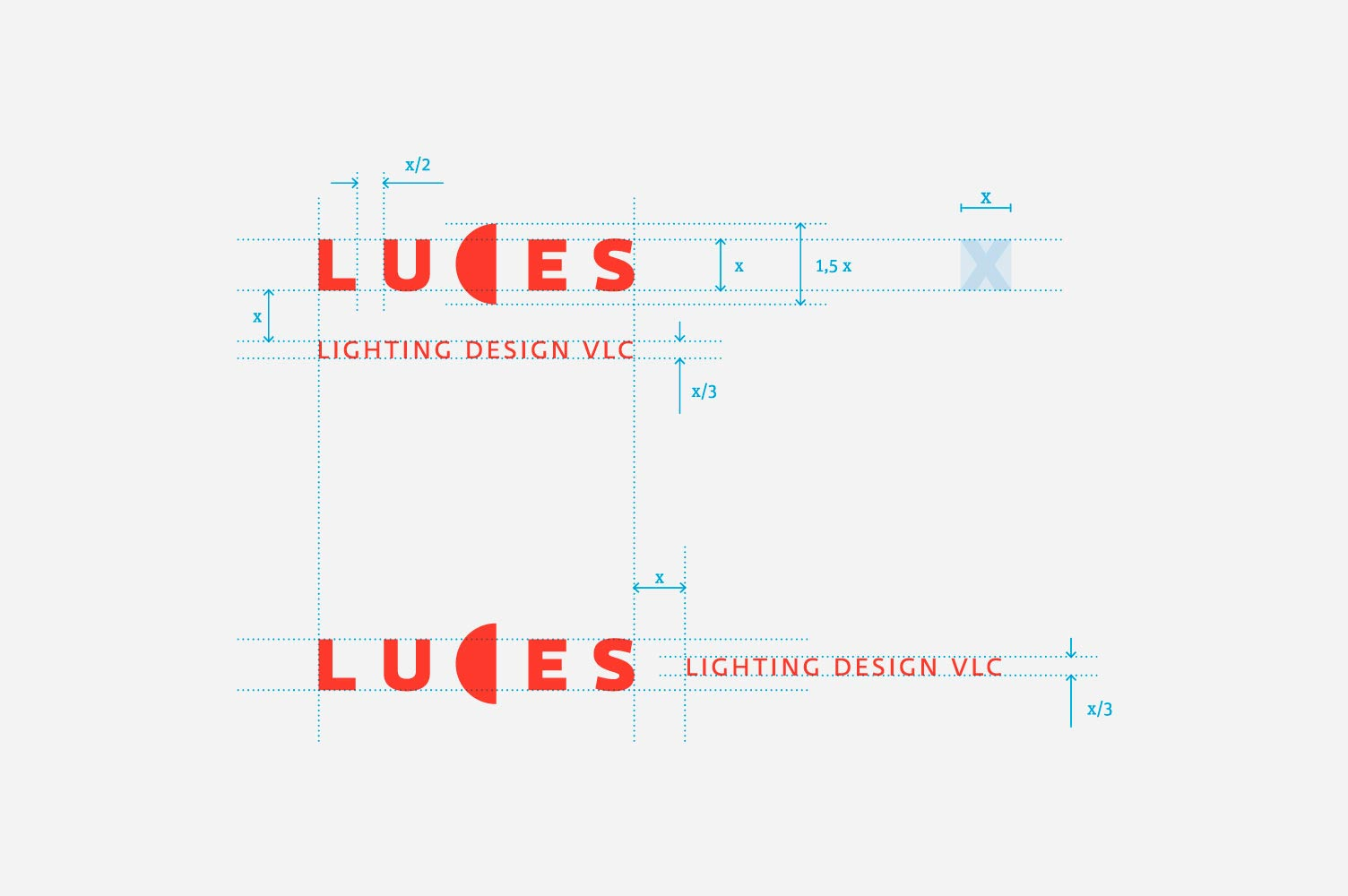 Esquema de construcción rediseño de marca Luces