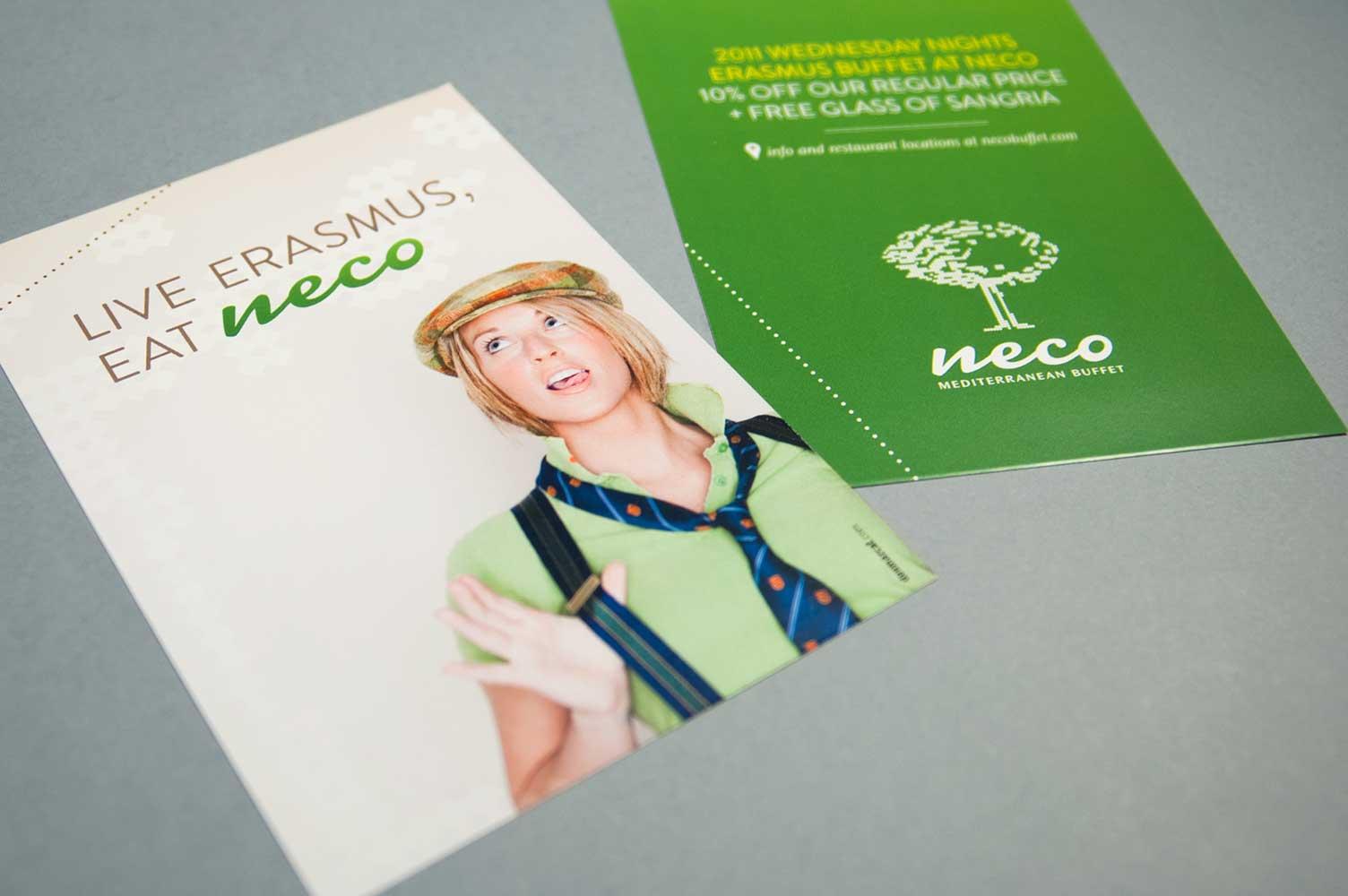 Flyer campaña de publicidad erasmus Neco buffet