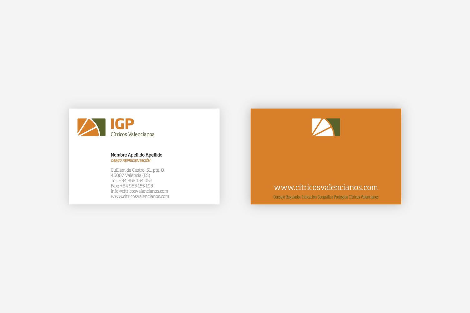 Manual de identidad corporativa IGP – Tarjetas