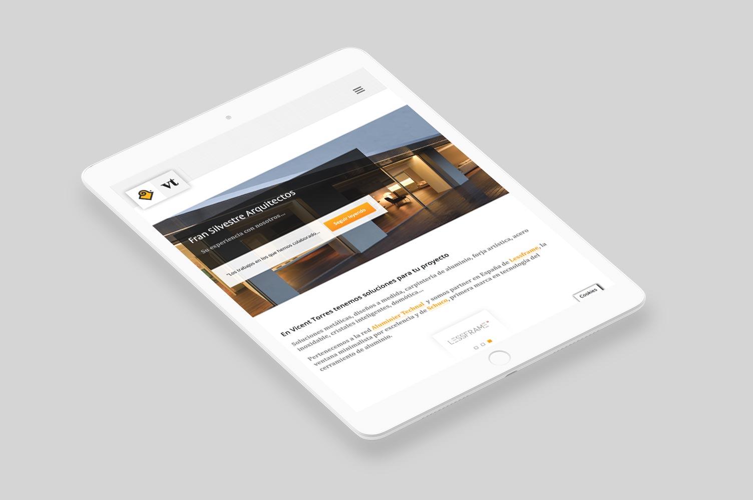 Diseño responsive para web Vicent Torres versión tablet