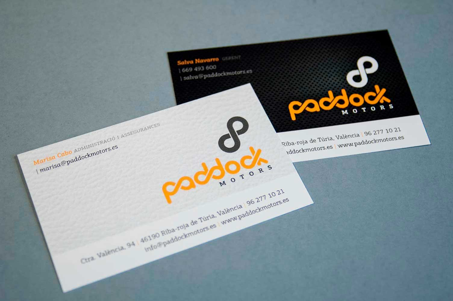 Tarjetas comerciales Paddock