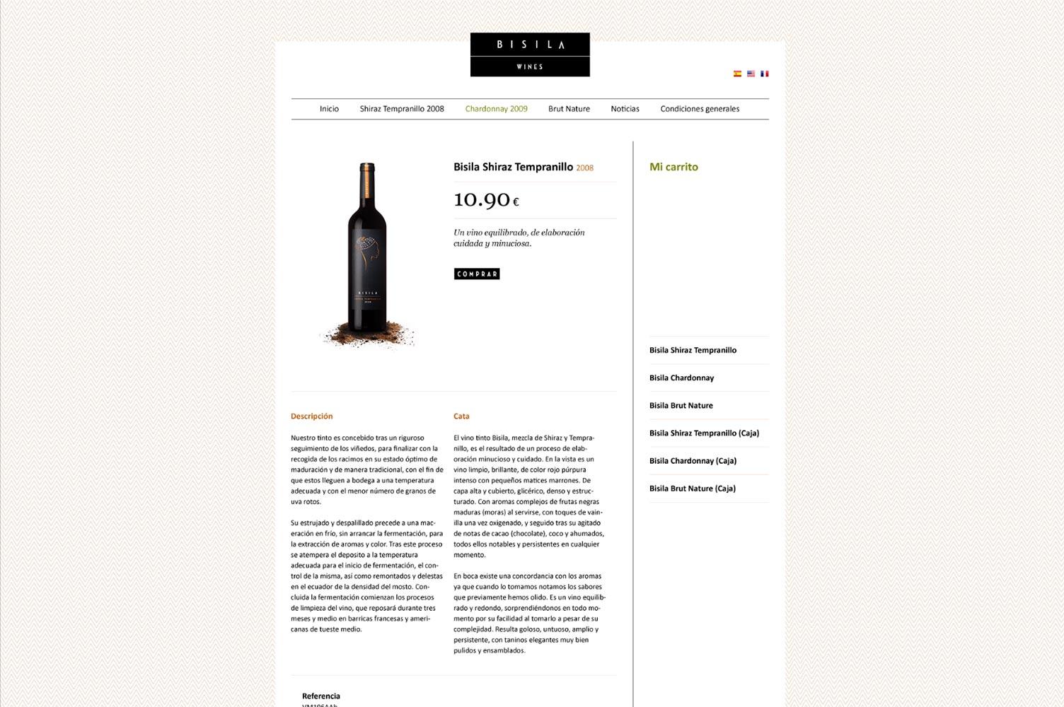 Online shop Bisila Wines ficha de producto