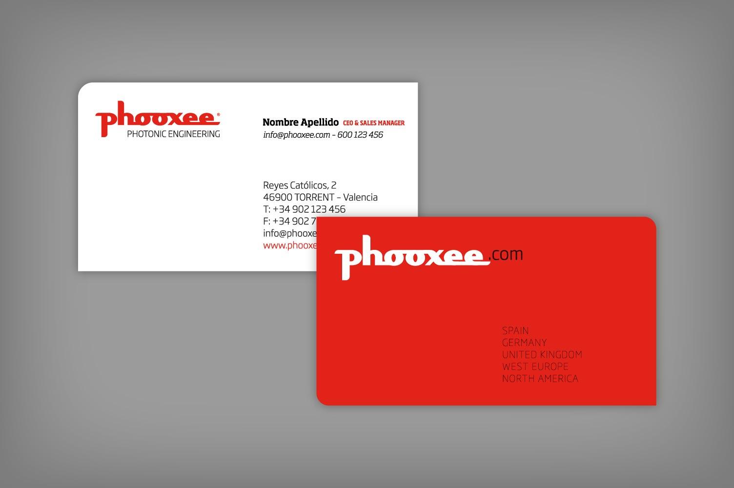 Diseño tarjetas personales Phooxee