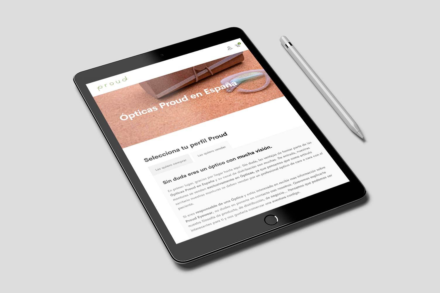 E-commerce Proud Eyewear iPad version