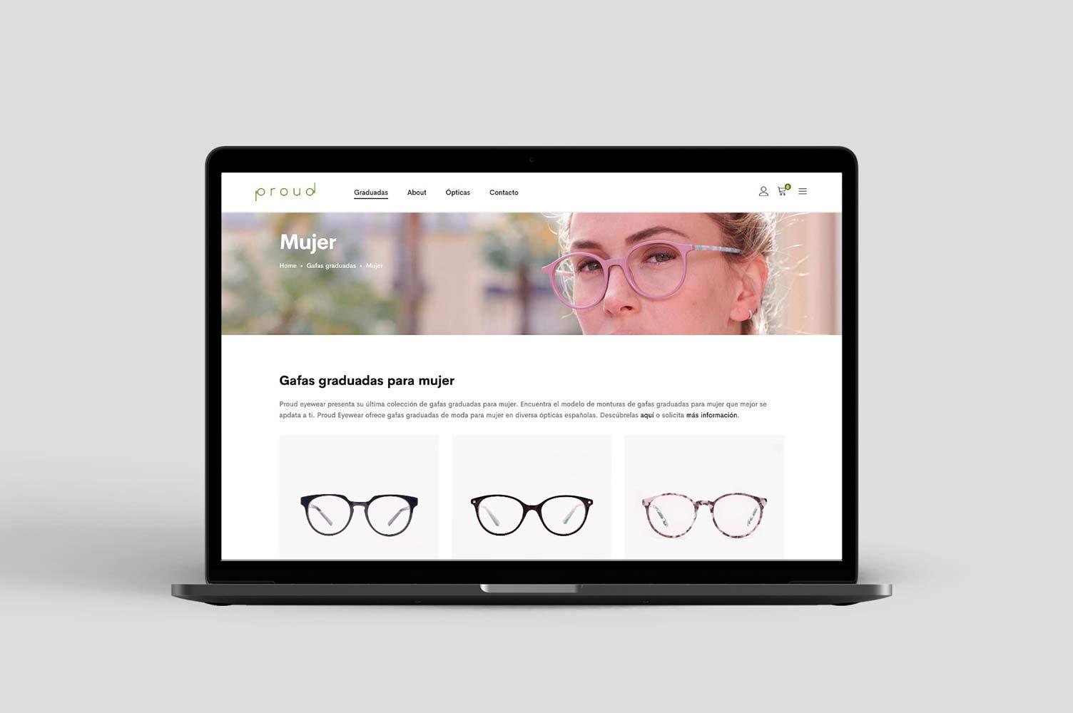 Diseño de tienda online Proued Eyewear en portátil
