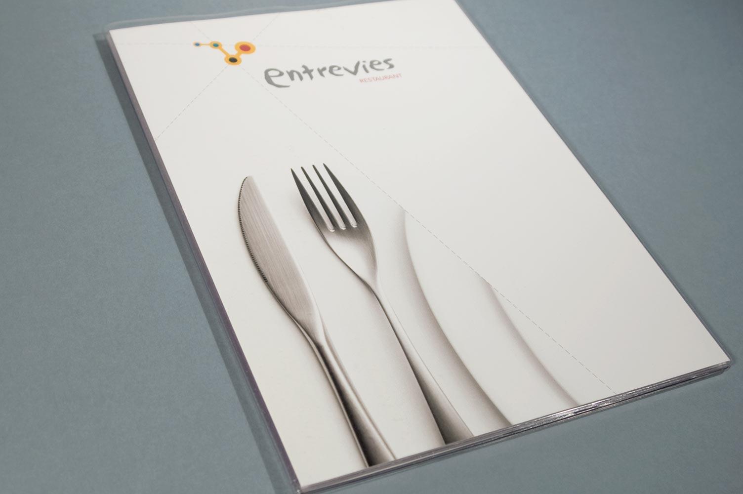 Portada carta de menú restaurante entrevies