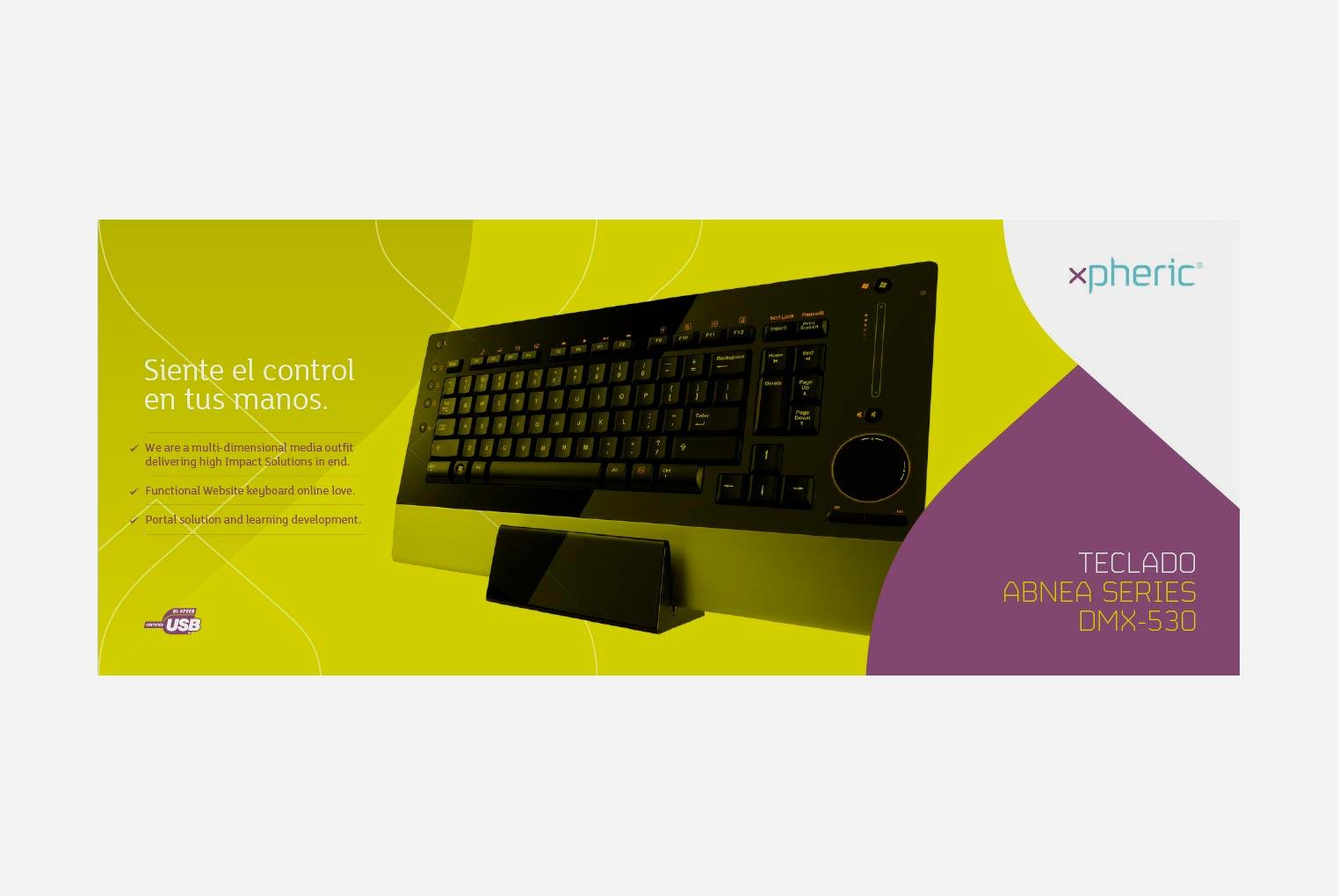 Diseño de packaging teclado xpheric anverso