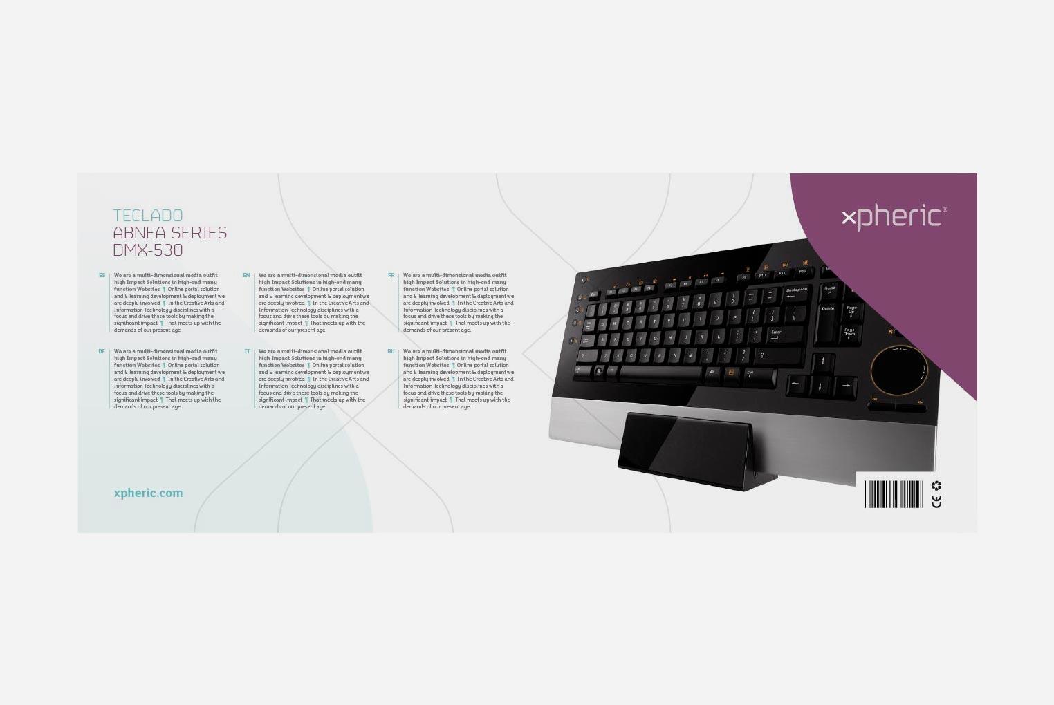 Diseño de packaging teclado xpheric reverso
