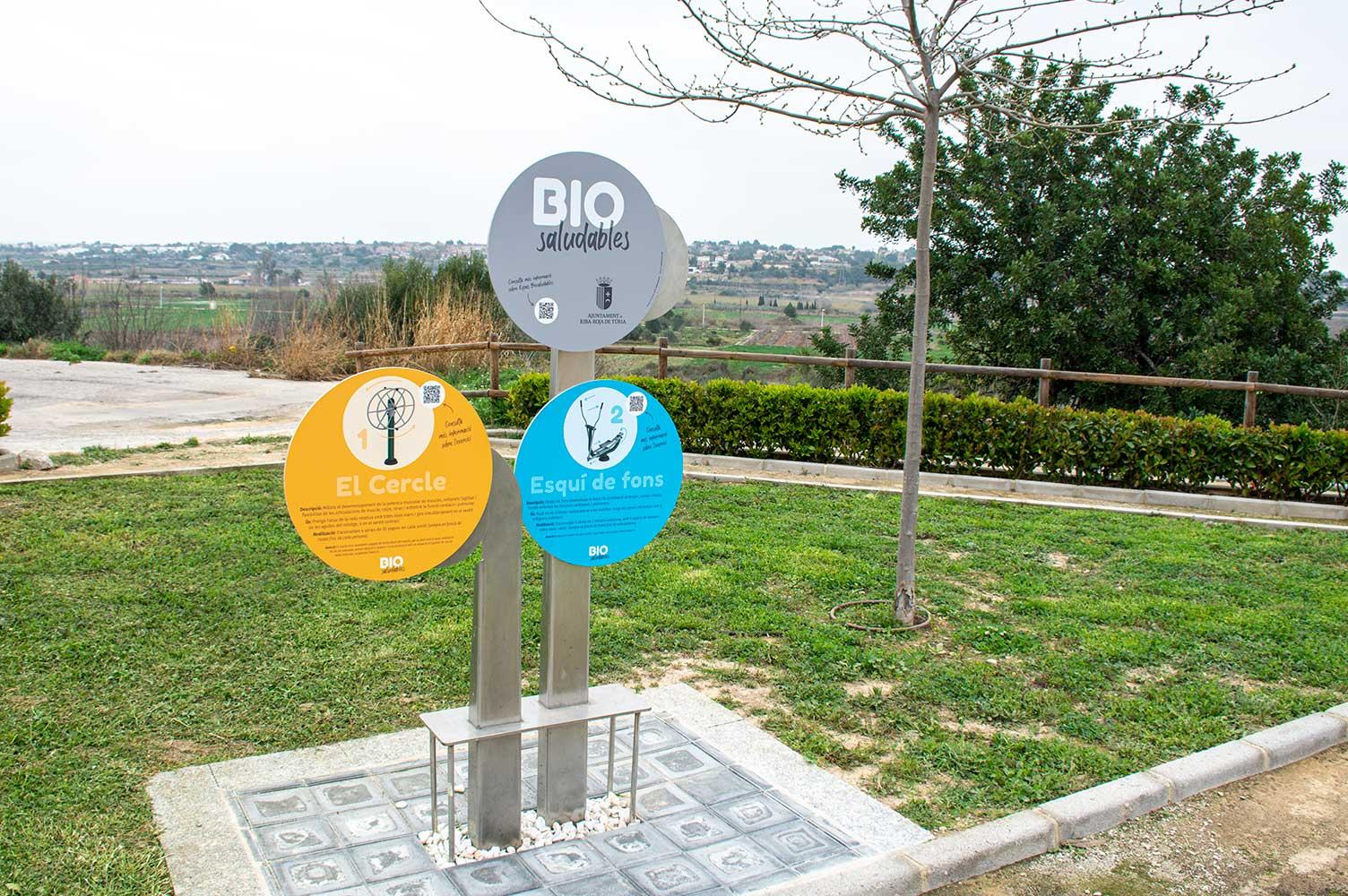 Señal de 3 elementos en la zona Bio Saludables