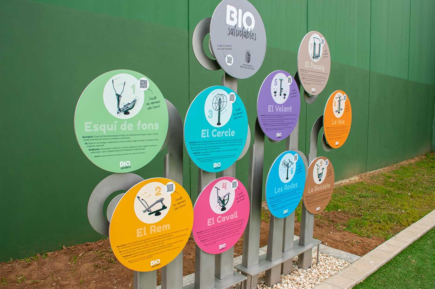Señalización para espacio Bio Saludables Polideportivo Ribarroja